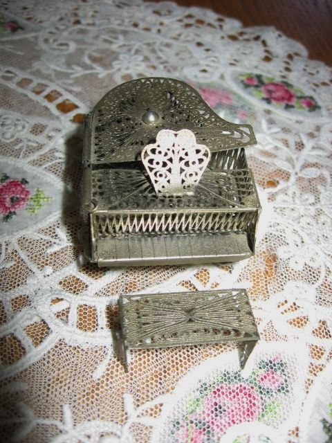 Miniature Dollhouse Filigree Grand Piano and Bench