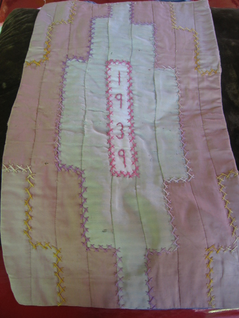 Quilted Pillow Cover for Crib 1939 Fancywork Use on Doll Bed