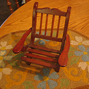 Adorable Small Wooden Slated and Slant Back Doll Chair