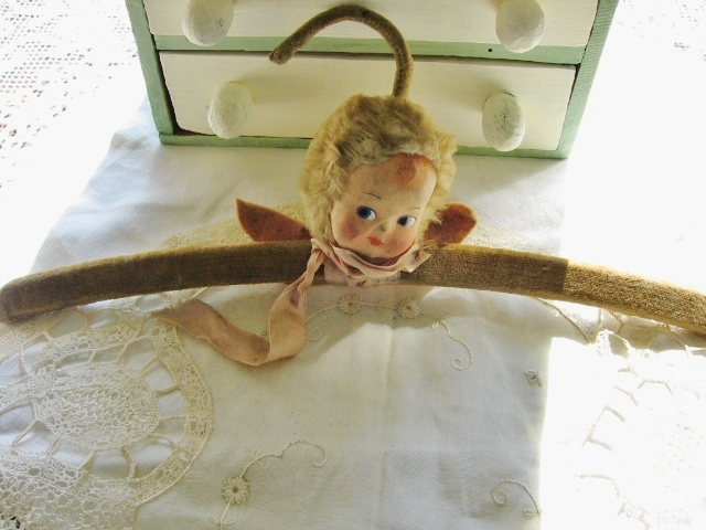 Angel Doll Head Hanger RARE!! Pressed Cloth Painted Face