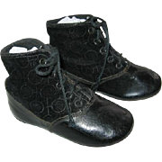 Velvet & Leather Hightop Baby Shoes Early 1900s Rich Black Velvet with Design