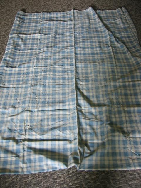 Antique Hand Stitched Blue Plaid Mattress Cover