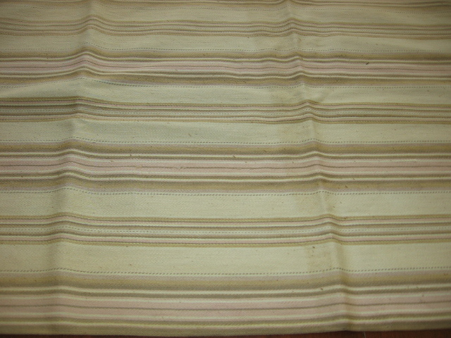 Antique Bolster Pillow Case Ticking Shades of Brown and Pink