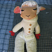 Vintage Lamb Chop Lovable Shari Lewis Stuffed Rubber Faced Toy Sheep - Red Tag Sale Item