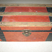 Vintage Paper Lithographed  Wooden Doll Trunk