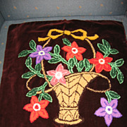 Mennonite Stumpwork Pillow Top Lovely Flower Basket on Burgundy Velvet
