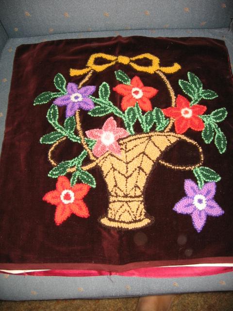 Mennonite Stumpwork Pillow Top Lovely Flower Basket on Burgundy Velvet