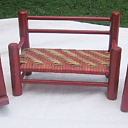 3 Pieces Red Painted & Basket Weave Doll Furniture
