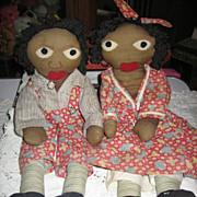 Little Black Sambo & Miranda Rare 1940s Era Handmade Rag Dolls
