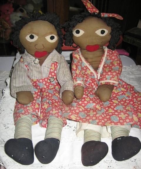Rare Rag Dolls Little Black Sambo & Miranda Precious 1940s Era Handmade Dolls