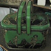 Early 1900s Lithographed Tin Lunch Pail Exceptional!!