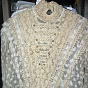Antique Net Lace Blouse with Elaborate Accents
