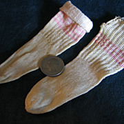 Old Doll Stockings White with Pink Stripes