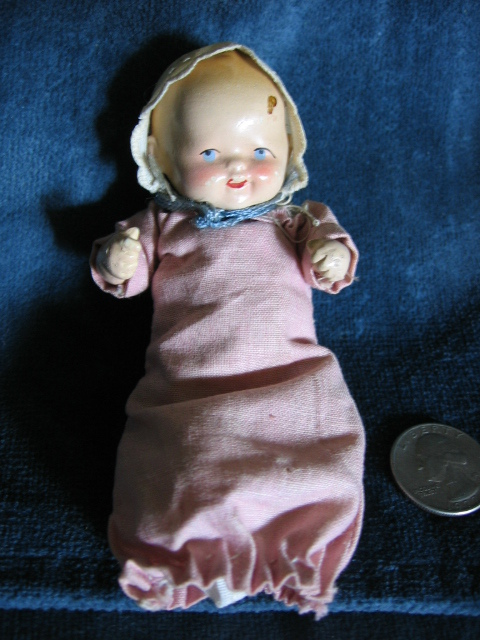 Made in Germany Miniature Painted Bisque Jointed Doll
