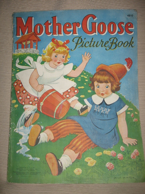 1940s Childrens Mother Goose Book Jack & Jill Cover