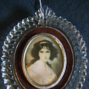 Unusual Glass Frame with Touch of Velvet and Lovely Lady