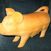 Vintage Folk Art Carved Wooden Pig with Piglet in Belly