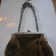 Small Brown Velvet Purse for Doll