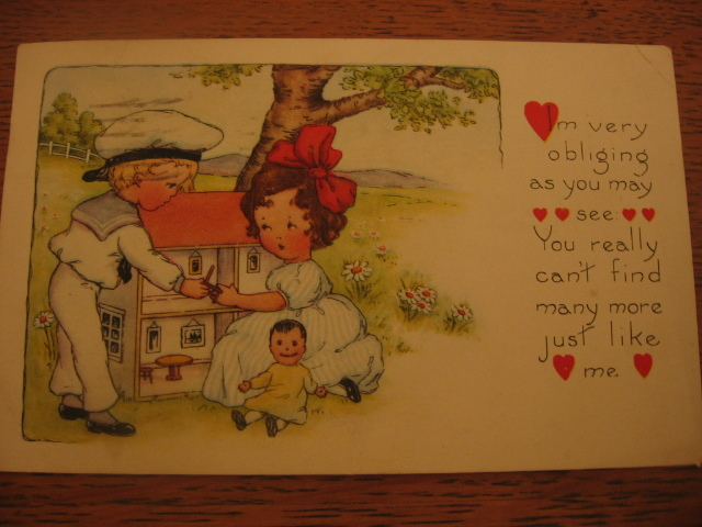 Dollhouse Featured on Old Valentine Postcard