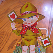 Diecut Mechanical Boy Scout Vintage Valentine