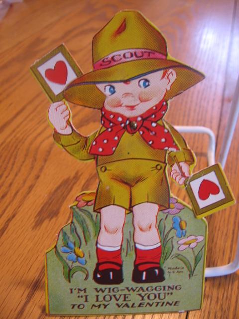 Diecut Mechanical Boy Scout Vintage Valentine