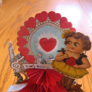 Vintage Big Eyed Girl Honeycomb Valentine Card Girl & Vanity