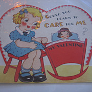 Vintage Valentine Little Girl Rocking Dolly in Cradle
