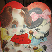 Large Pups Die Cut Hall Bros. Hallmark Valentine Card