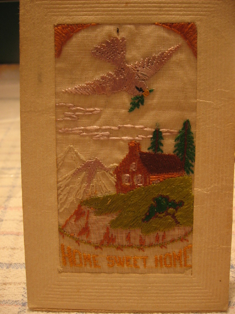 French Silk Embroidered Home Sweet Home WWI Postcard