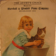 Delightful Advertising Trade Card Girl Grooming Her Cat