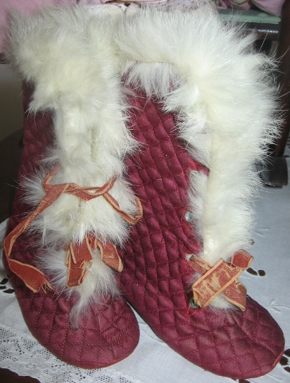 Antique Baby Shoes Burgundy - Red Quilted Boots