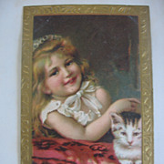 Victorian Postcard Girl with Kitty Cat Just Stunning