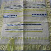 Sampler Pillow Cover in Mellow Yellow Stitching