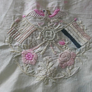 Large Silk Hankie with Emboidered Emblem & Flowers