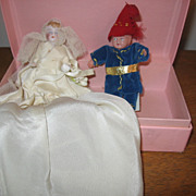 Old Miniature Bride & Groom with Handmade Clothing