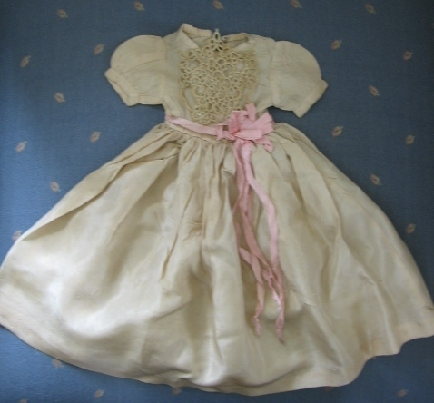Lovely Handmade Silky Doll Dress with Tatted Overlay