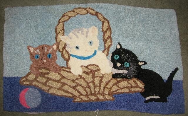 Kittens in Basket Vintage Hand Hooked Rug Adorable!