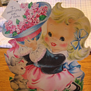 Adorable Large Easel Back Little Girl Easter Card Hall Bros