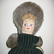 Vintage Childs Cloth Mask Faced Doll Muff