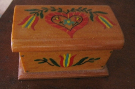 Miniature Handpainted Wooden Trunk Chest or Box