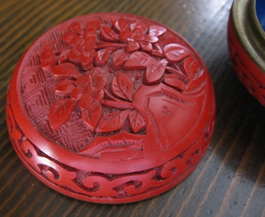 Vintage Carved Cinnabar and Blue Enameled Trinket Box