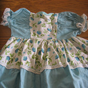 Adorable Aqua Floral 1940s 1950s Dress for Doll