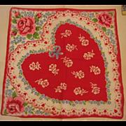 Vintage Valentine Heart Hankie