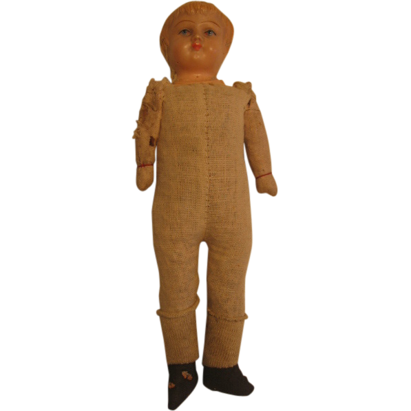 Old Straw Stuffed Doll with Celluloid Face