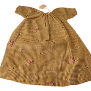Early 1900s Brown Checked Doll Dress