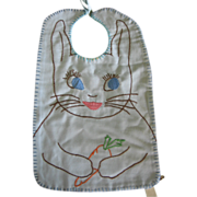 Mennonite Made Embroidered Bunny Rabbit Baby Bib