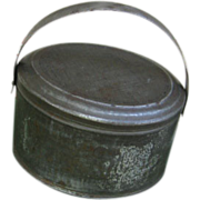Old Oval Tin Lidded Pail for Teddy or Dolls