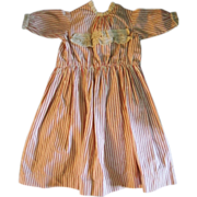 Old Homemade Red Striped Doll Dress with Lace Trim