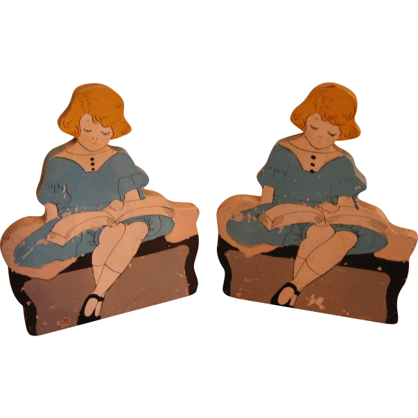 Pair of Bookends Darling Diecut Wooden Little Girl Reading