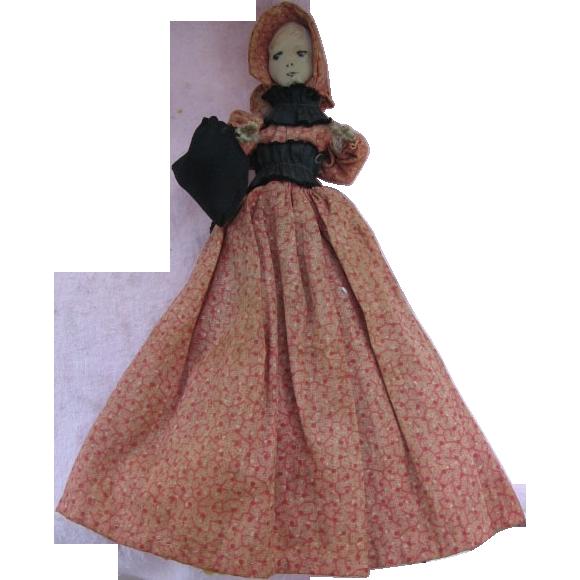 Mennonite Made Old Primitive Spool Doll